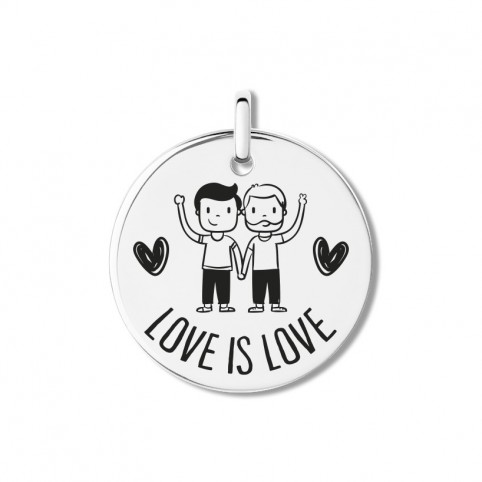 Medalla Plata de Ley Love is love men